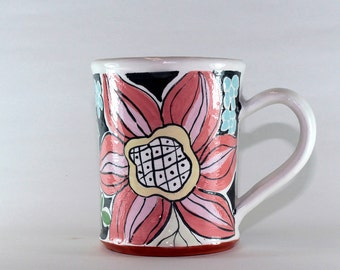 Handpainted pottery in the majolica style, handthrown coffee mug