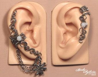 Snowflake EAR CUFF SET - cartilage ear cuff, adjustable ear cuff, no piercing ear cuff, silver ear cuff, elegant jewelry, chain ear wrap