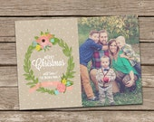Photo Christmas Card : Floral Wreath Merry Christmas Rustic Kraft Paper Custom Photo Holiday Card Printable