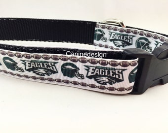 Dog Collar, Eagles White,  1 inch wide, adjustable 18-26 inches, quick release
