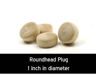 Unfinished Wood Roundhead Plug Button - 1 inch in diameter wooden shapes (WW-BR1000)