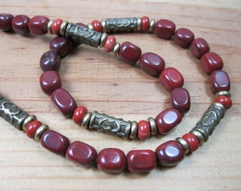 Red Jasper, Brass Necklace, Mens Rustic Necklace, Mens Necklace, Mens Beaded Necklace, Necklace For Men, Tribal Necklace