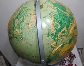 Large Globe Sculptural Relief Nystrom 16 Inch