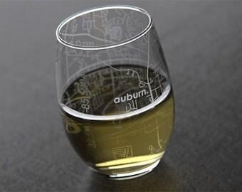Auburn - Auburn University - College Town Map Stemless Wine Glass