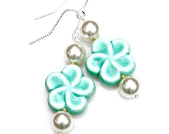 Flower Earrings Daisy Dangles Pottery Bead Mint Green Creamy White Pearls Gold Earrings Boho Woodland Chic Garden Goddess Style Mei Faith