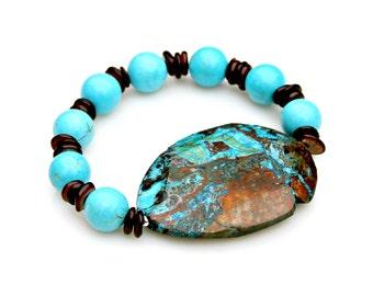 Turquoise Blue Jasper Bracelet Shell Beaded Bracelet STACKABLE Boho Chic Bracelet Beaded High Fashion Tribal Rustic Style by Mei Faith