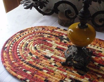 Coiled Table Mat, Hot Pad or Trivet in Warm, Earthy Colors for your Kitchen - OVAL - Handmade by Me