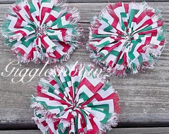 Chiffon Twirl Flowers- Christmas Chevron 3 inch - Fabric Flowers, Ballerina Flowers for Hair, Headband- DIY Hairbow Supplies