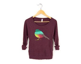 Autumn Robin Sweatshirt - Oversized Lightweight Long Sleeve Pullover Raglan Sweater in Heather Cranberry Fall Rainbow - Women's Size S-L