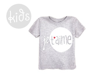 Je T'aime Tee - Crew Neck Short Sleeve Cotton Graphic Tshirt in Heather Light Grey and Red - Baby Kids & Youth