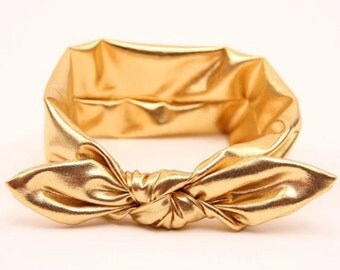 metalic gold knot tie headband