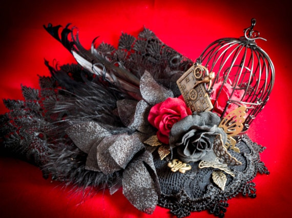 Steampunk Mini Top Hat Marie Antoinette Birdcage Day of the Dead wedding fascinator