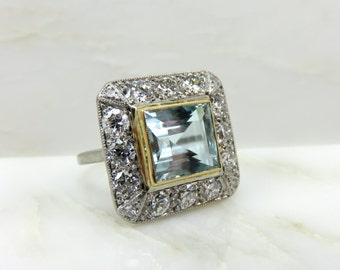 Circa 1940's Aquamarine and Diamond Ring