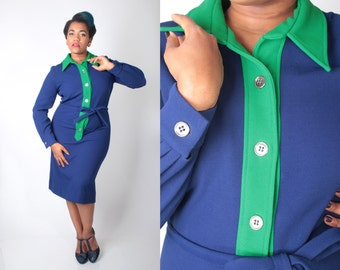 Vintage 60s Dress // Mr Eddie Sheath Colorblock Wiggle Dress // Vintage Plus Size Dress (sz 14)