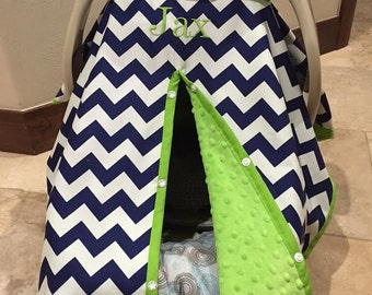 Super Cute Baby Car Seat Covers - CHEVRON in Navy and White with Lime Green Minky - Baby Boy - Baby Shower Gift