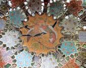 Vintage Ornate Clossione Brass Enameled Pedestal Bowl Pierced Flowers Love Birds