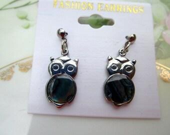Vintage Owl Abalone shell Earrings NWT Retro 80's