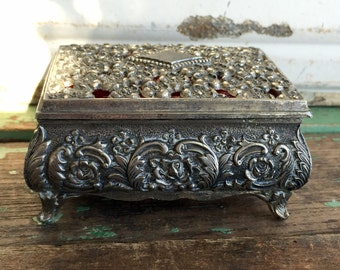 Vintage Jewelry Trinket Box Metal Silver Repousse Floral Footed