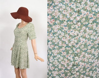 Vintage 1990s Floral Romper / Rayon Mini Dress / 90s Grunge Onesie / Revival Jumper Playsuit / Extra Small / Small