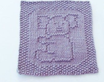 Koala Bear Dusty Lilac Colored Handknit Dishcloth or Washcloth