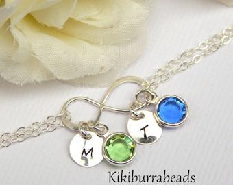 Personalized Infinity Birthstone bracelet With Initials, Mothers bracelet, sisters bracelet, grandma bracelet, friendship bracelet