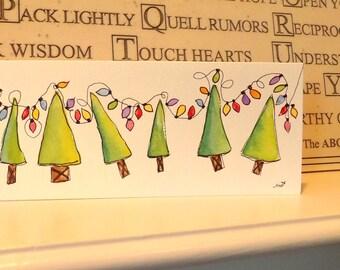"Christmas Lights Watercolor Original  Slim Card 3 7/8"" x 9""  With  Envelope  Blank Inside betrueoriginals"