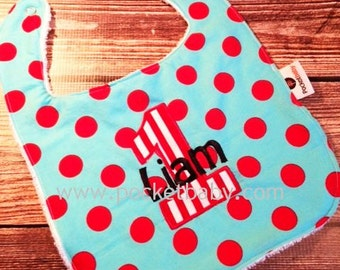 Personalized 1st Birthday Bib - Smash Cake Baby Bib - You Choose Your Fabric - by Pocketbaby