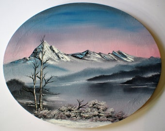 Bob Ross Style Oil Painting Winter Wilderness Alaska Snow Landscape Mountain Lake Oval 16 x 20