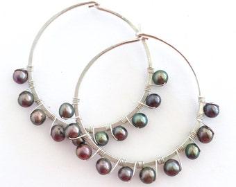 Black Pearl Sterling Silver Hoop Earrings. Hand Hammered Large Round Sterling Silver Freshwater Pearl Hoops.