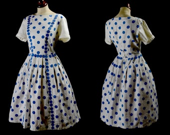 Original Vintage 1950s Blue White Polka Dot Summer Dress - Small - FREE SHIPPING WORLDWIDE