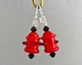 Fire Hydrant Earrings - Handmade Lampwork Glass Beads SRA