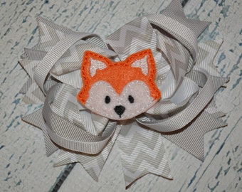 CLEARANCE Fox Hairbow Embroidered Hair Bow Center Chevron
