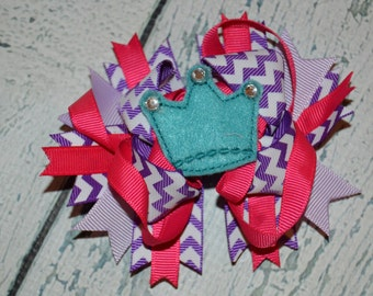 CLEARANCE Princess Tiara  Hairbow Embroidered Hair Bow Center Chevron
