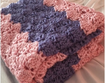 Crochet Baby Blanket Pink and Lilac  Toddler Blanket Baby Afghan