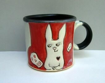 Rabbit Mug, Small, Red and White Bunny Mug with Skulls, Small Ceramic Coffee Mug or Tea Mug, Animal Pottery, Halloween Love