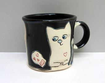 Cat Mug, Small, Black and White Kitty Mug with Skulls, Small Ceramic Coffee Mug or Tea Mug, Animal Pottery, Halloween Love