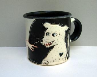 Rat Mug, Small, Black and White Rat Mug with Colorful Running Rats, Small Ceramic Coffee Mug or Tea Mug, Animal Pottery