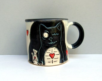 Zombie Cat Mug With Undead Rat, Black And White with Hearts, Coffee Mug or Tea Mug, Animal Pottery, Zombie Love