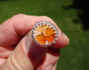 Sterling Silver Mexican Jelly Opal Tie Tac - OUTRAGEOUS ORANGE ORACLE