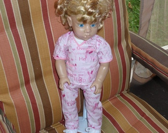 "Pink Ribbon 18"" Doll & Nursing Scrubs Breast Cancer Awareness SPECIAL EDITION Word of Encouragement"