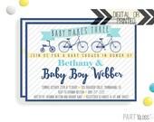 Bicycle Baby Shower Invitation | Digital or Printed |  Bicycle Baby Shower | Bike Invitation |  Baby Makes Three | Vintage Bicycle Shower