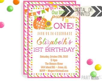 Pumpkin Invitation | Digital or Printed | Pumpkin Party | Little Pumpkin Invite | Girly Pumpkin | Fall Pumpkin Invitation | Fall Invitation