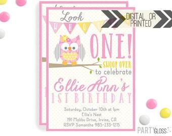 Owl Birthday Invitation | Digital or Printed |  Owl Party | Owl Invite |  Girly Owl Invite | Girly Owl Invitation | Owl Themed Party