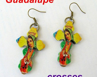 Our Lady of Guadalupe earrings mexico folk art catholic  virgen mexicana virgin Unique