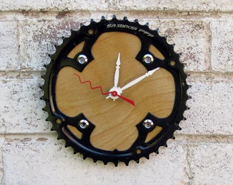 Recycled Suntour Bicycle Chainring Wall Clock