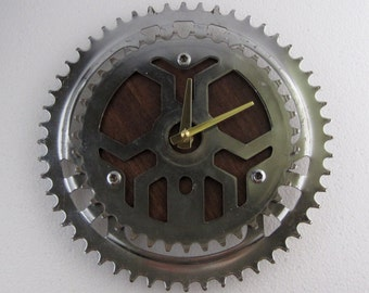 Recycled Vintage Bicycle Double Chainring Wall Clock