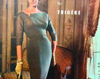 McCall's 3827; ©1956; Pauline Trigère  Misses' One-Piece Dress  Asymmetrical Fitted Bodice Slim Skirt Wiggle Vintage Sewing Pattern Bust 32