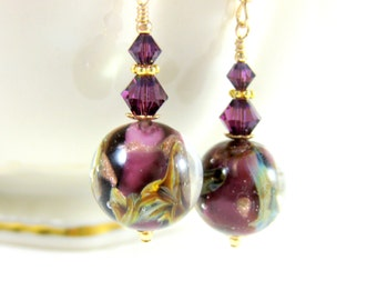Purple Gold Murano Earrings, Plum Purple Calcedonia Earrings, Glass Dangle Earrings, Drop Earrings Earrings Murano Jewelry Round Earrings