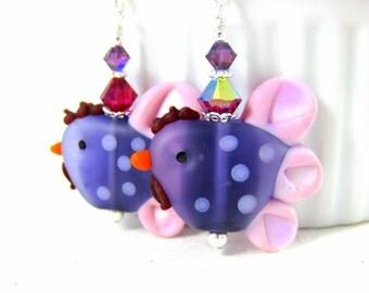 Chicken Earrings, Purple Pink Earrings, Rooster Earrings, Bird Earrings, Barnyard Earrings, Funny Earrings, Polka Dot Lampwork Earrings