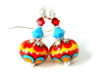 Southwestern Dangle Earrings, Colorful Glass Earrings, Lampwork Earrings, Red Orange Blue Yellow Earrings,  Ethnic Jewelry, Tribal Jewelry